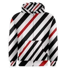 Red, Black And White Lines Men s Zipper Hoodie by Valentinaart