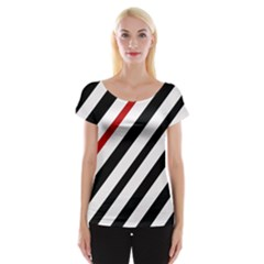 Red, Black And White Lines Women s Cap Sleeve Top by Valentinaart