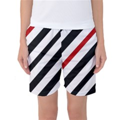 Red, Black And White Lines Women s Basketball Shorts by Valentinaart
