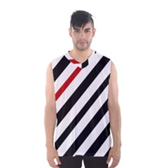 Red, Black And White Lines Men s Basketball Tank Top by Valentinaart