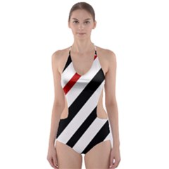 Red, Black And White Lines Cut-out One Piece Swimsuit by Valentinaart