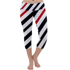 Red, Black And White Lines Capri Yoga Leggings by Valentinaart