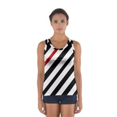 Red, Black And White Lines Women s Sport Tank Top  by Valentinaart