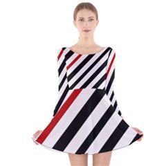Red, Black And White Lines Long Sleeve Velvet Skater Dress by Valentinaart