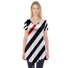 Red, Black And White Lines Short Sleeve Tunic  by Valentinaart