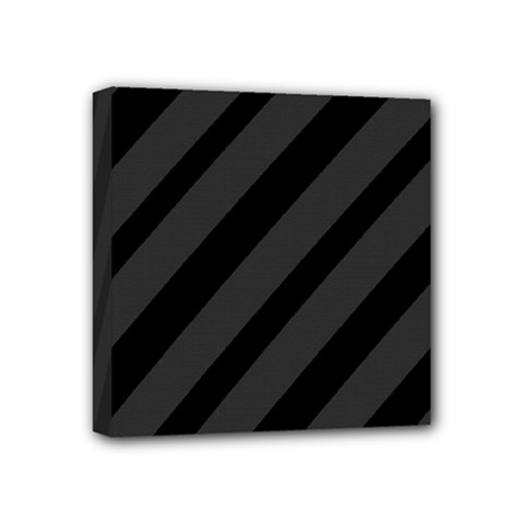 Gray And Black Lines Mini Canvas 4  X 4  by Valentinaart