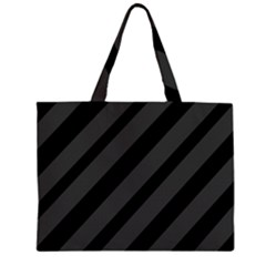 Gray And Black Lines Zipper Large Tote Bag by Valentinaart