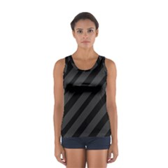Gray And Black Lines Women s Sport Tank Top  by Valentinaart