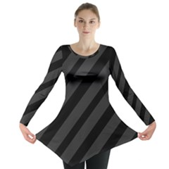 Gray And Black Lines Long Sleeve Tunic  by Valentinaart