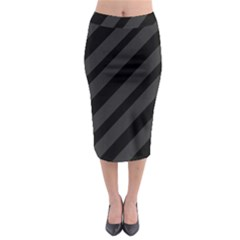 Gray And Black Lines Midi Pencil Skirt by Valentinaart