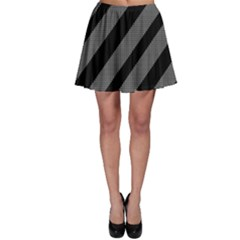 Black And Gray Lines Skater Skirt by Valentinaart