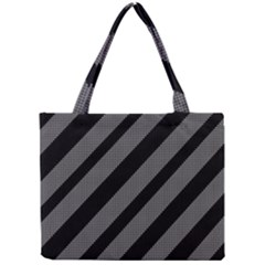 Black And Gray Lines Mini Tote Bag by Valentinaart