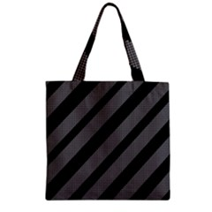 Black And Gray Lines Zipper Grocery Tote Bag by Valentinaart