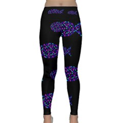 Purple Fishes Pattern Yoga Leggings  by Valentinaart