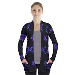 Purple Fishes Pattern Women s Open Front Pockets Cardigan(p194)