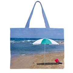 Beach Umbrella Zipper Large Tote Bag by PhotoThisxyz
