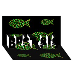 Green Fishes Pattern Best Sis 3d Greeting Card (8x4) by Valentinaart