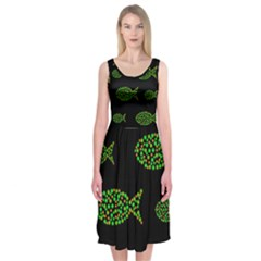 Green Fishes Pattern Midi Sleeveless Dress by Valentinaart