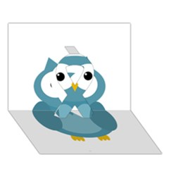 Cute Blue Owl Ribbon 3d Greeting Card (7x5) by Valentinaart
