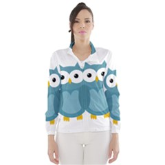 Cute Blue Owl Wind Breaker (women) by Valentinaart