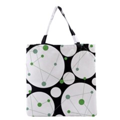 Decorative Circles   Green Grocery Tote Bag by Valentinaart