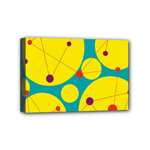 Yellow And Green Decorative Circles Mini Canvas 6  X 4  by Valentinaart