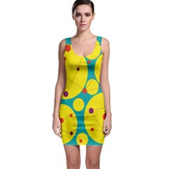 Yellow And Green Decorative Circles Sleeveless Bodycon Dress by Valentinaart
