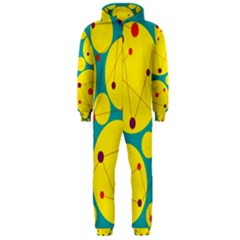 Yellow And Green Decorative Circles Hooded Jumpsuit (men)