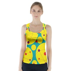 Yellow And Green Decorative Circles Racer Back Sports Top by Valentinaart