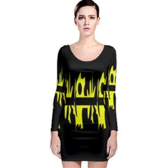 Yellow Abstract Pattern Long Sleeve Bodycon Dress by Valentinaart