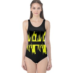 Yellow Abstract Pattern One Piece Swimsuit by Valentinaart