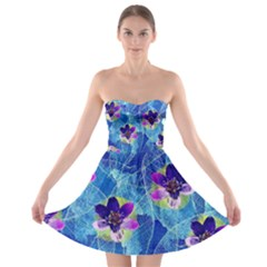 Purple Flowers Strapless Bra Top Dress by DanaeStudio