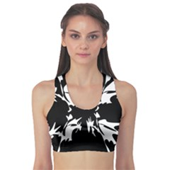 Black And White Pattern Sports Bra by Valentinaart