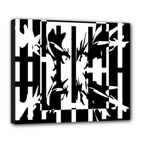 Black And White Abstraction Deluxe Canvas 24  X 20   by Valentinaart