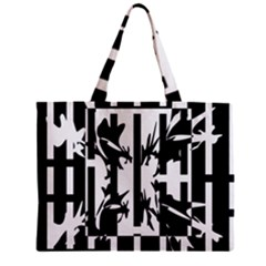 Black And White Abstraction Zipper Mini Tote Bag by Valentinaart