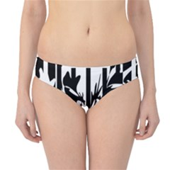 Black And White Abstraction Hipster Bikini Bottoms by Valentinaart