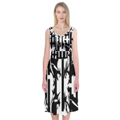 Black And White Abstraction Midi Sleeveless Dress
