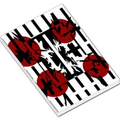 Red, Black And White Elegant Design Large Memo Pads by Valentinaart