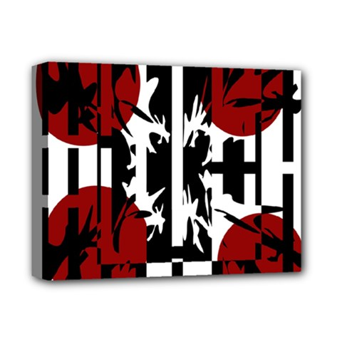 Red, Black And White Elegant Design Deluxe Canvas 14  X 11  by Valentinaart