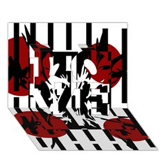 Red, Black And White Elegant Design Love 3d Greeting Card (7x5)