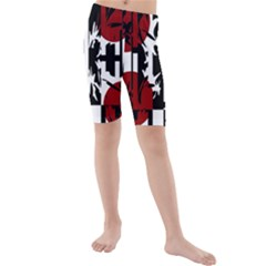 Red, Black And White Elegant Design Kid s Mid Length Swim Shorts by Valentinaart