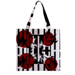 Red, Black And White Elegant Design Grocery Tote Bag by Valentinaart