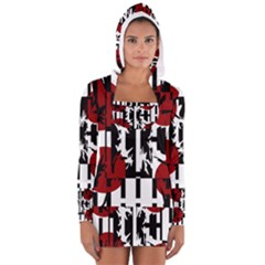 Red, Black And White Elegant Design Women s Long Sleeve Hooded T Shirt by Valentinaart