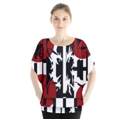 Red, Black And White Elegant Design Blouse by Valentinaart