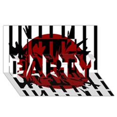 Red, Black And White Decorative Design Party 3d Greeting Card (8x4) by Valentinaart