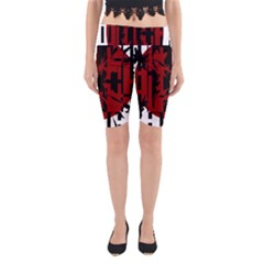 Red, Black And White Decorative Design Yoga Cropped Leggings by Valentinaart