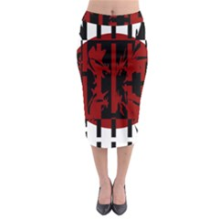 Red, Black And White Decorative Design Midi Pencil Skirt by Valentinaart