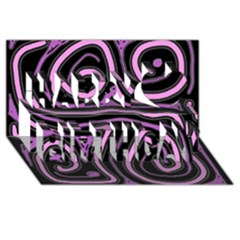 Purple Neon Lines Happy Birthday 3d Greeting Card (8x4)
