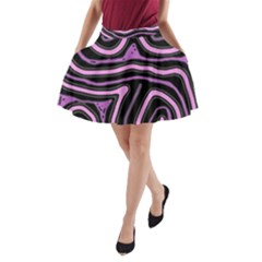 Purple Neon Lines A Line Pocket Skirt