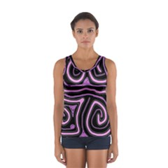 Purple Neon Lines Women s Sport Tank Top  by Valentinaart